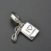 European and American reading books glasses silver pendant suitable for students silver jewelry accessories