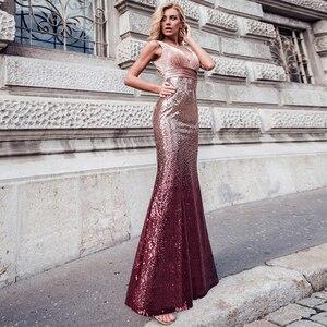 Image 4 - ブラッシュピンクウェディングドレスこれまでにかわいいEZ07767セクシーなvネックノースリーブスパンコールブルゴーニュロングパーティードレスvestidosウエディング2020