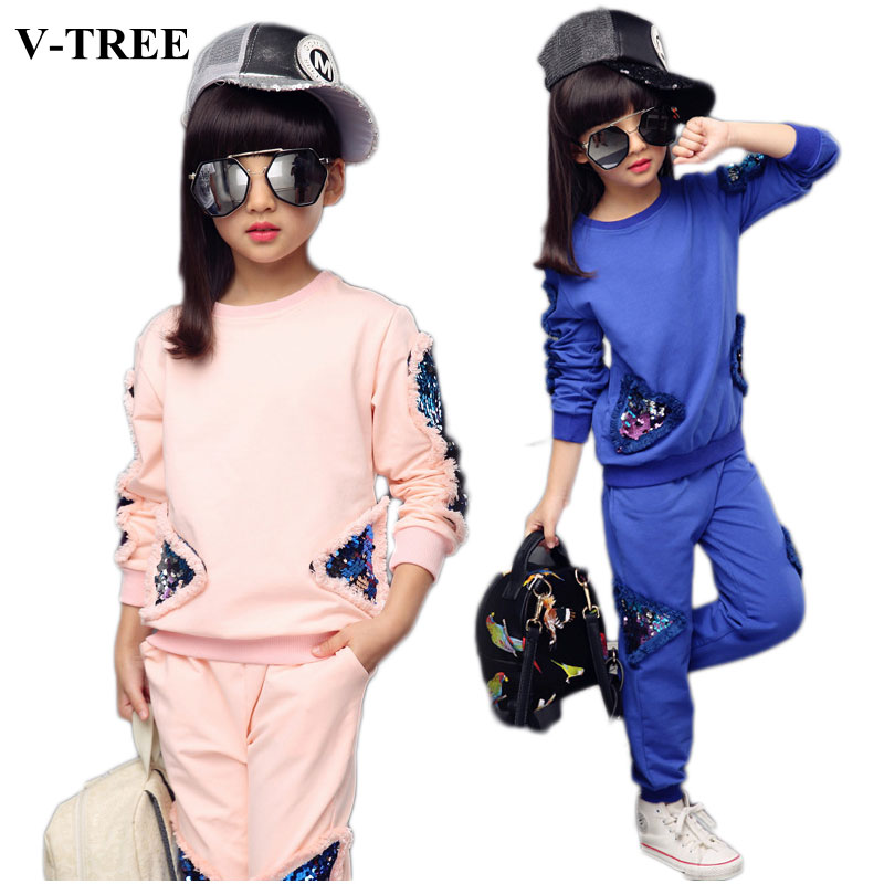 Spring Girls Clothing Set Long Sleeve Shirts+pants Clothes Sets For Teenager Girls Sport Suit School Kids Tracksuit kids stripe outfits for teenage girls long sleeve clothes sets girls school shirts