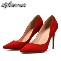 Stylesowner New Arrival High Heels Woman Party Shoes Top Quality Thin Heels Slip on 10/8/6cm Heels Multicolor Pumps Shallow