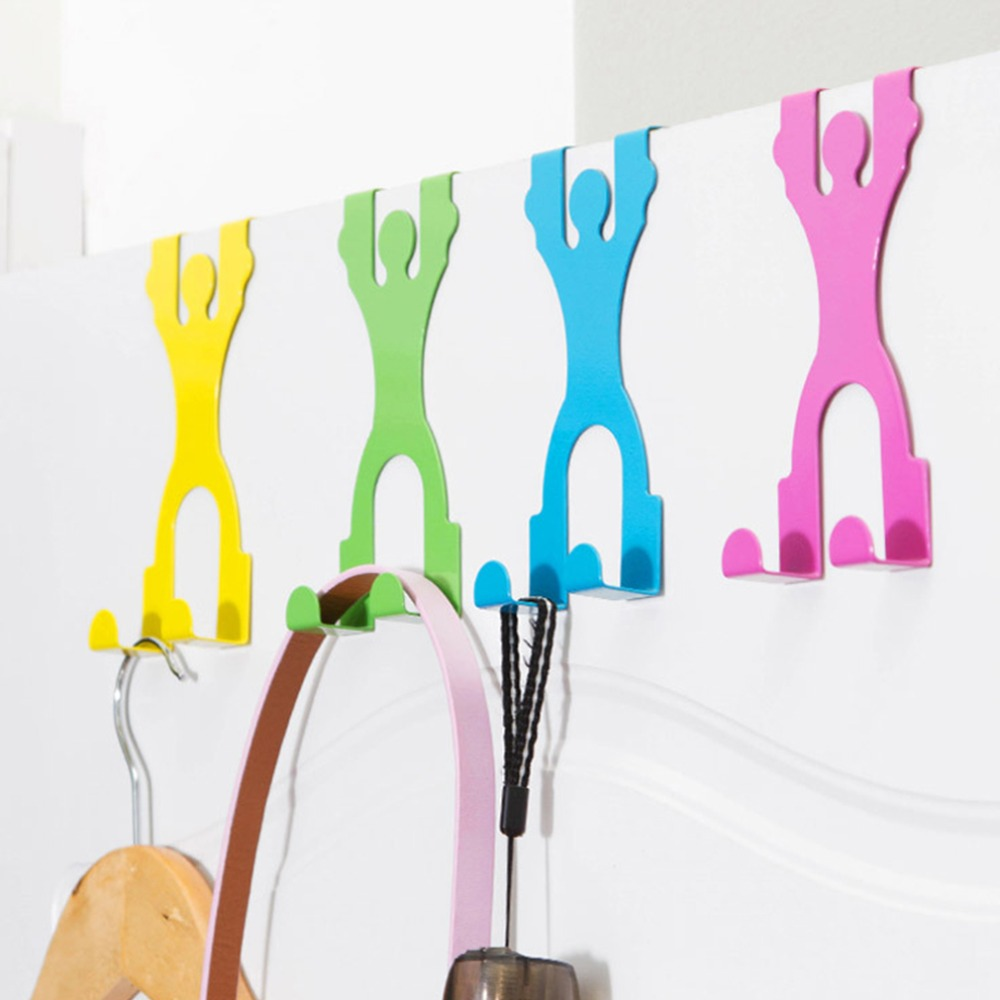 Cute Stainless Steel Over The Door Dual Hanger Hook Hat