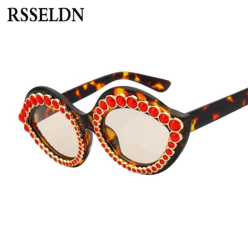 RSSELDN Luxury Brand Cat Eye Sunglasses Women Fashion Gradient Lens Rhinestone Sun glasses For Women Vintage Lips Shades UV400