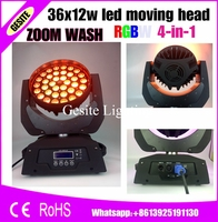 4pcs Lot Pro Stage Light 36x10W RGBW LED Moving Head Zoom Wash Light 4in1 Quad Color