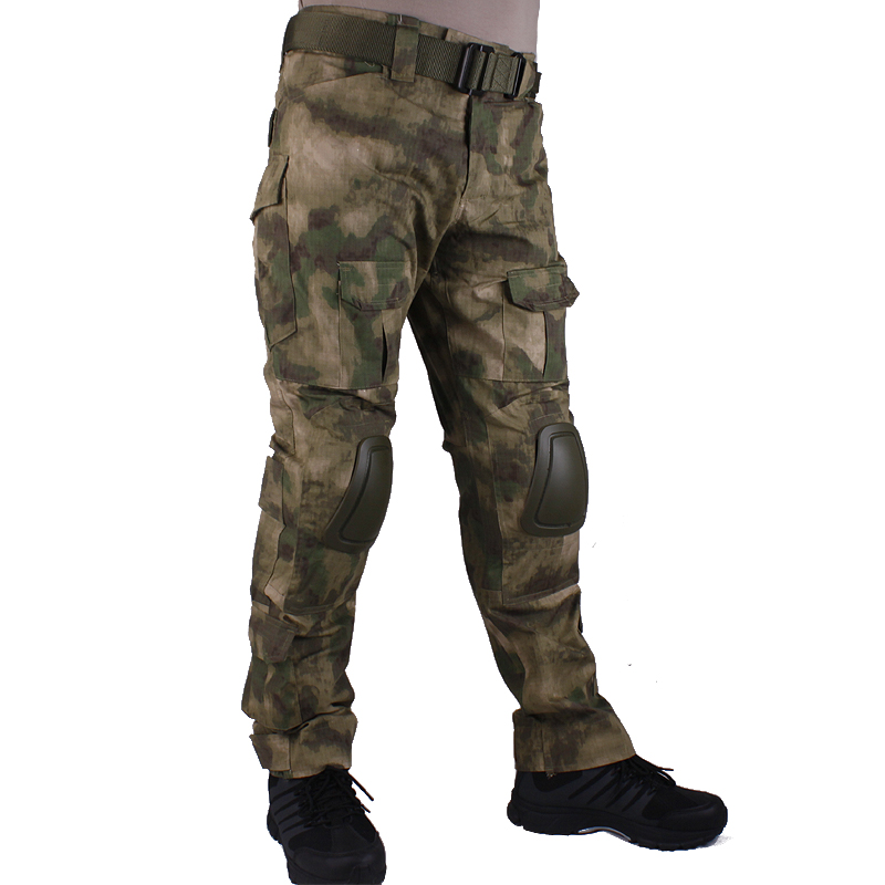Hunting Camouflage Pants Tactische Broek AT-FG Broek En Kniebeschermers Militaire Game Cosplay Uniform