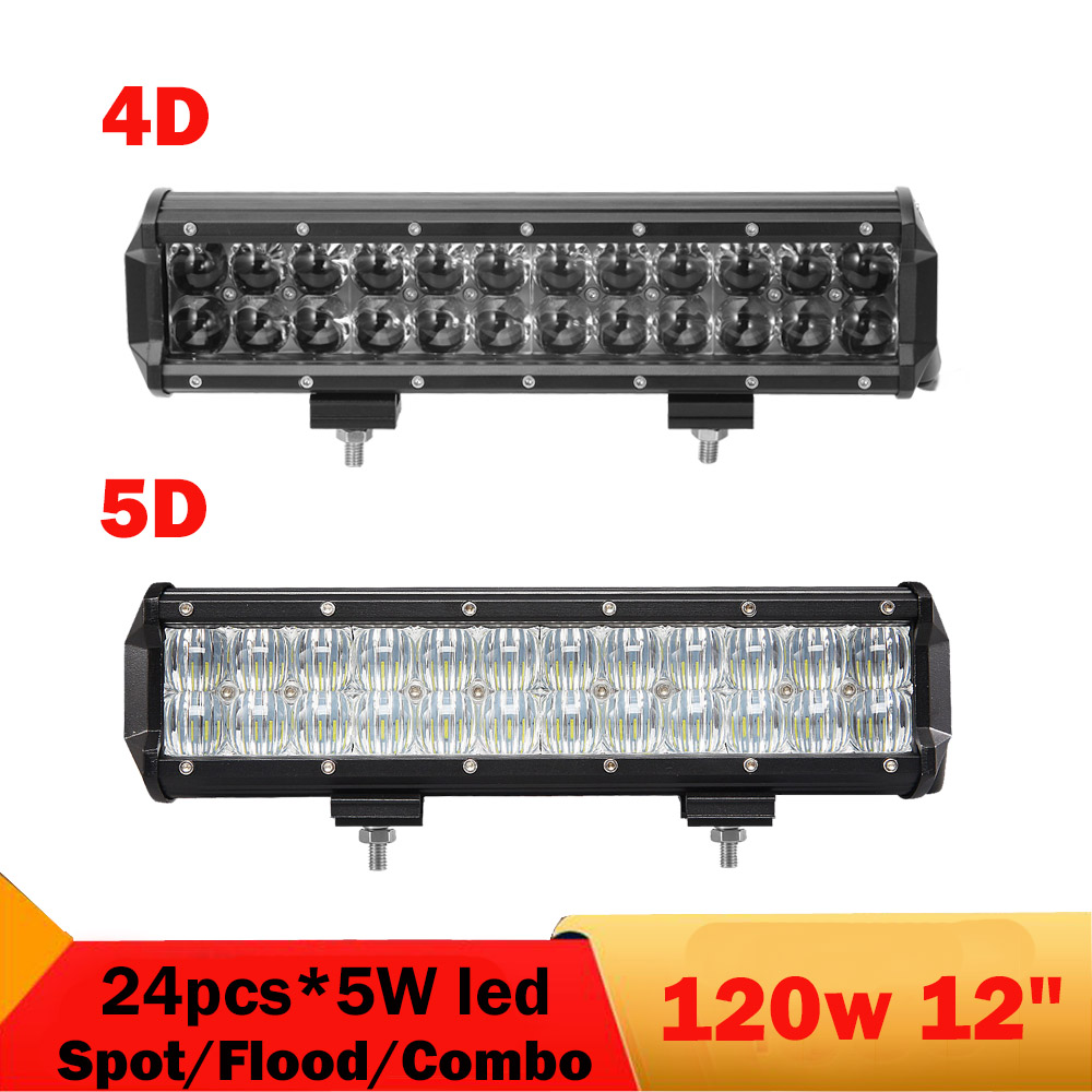 5D 4D 120W 12'' Offroad LED Light Bar 12V 24V Truck ATV UTV 4X4 4WD Trailer Wagon Pickup Boat Tractor Headlight Driving Fog Lamp 32 300w curved led bar combo offroad driving light atv suv 4x4 truck trailer camper tractor pickup wagon utv 4wd off road lamp