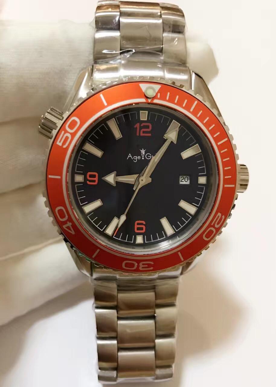 Здесь можно купить  Luxury Brand New Men Automatic Mechanical Watches Luminous Black Orange Blue Leather Sapphire Classical Professional AAA+ Gent  Часы