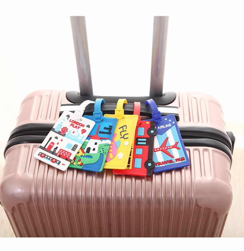 Reizen Accessoires Cartoon Bagagelabel Silicagel Koffer ID Adres Holder Bagage Boarding Tags Draagbare Label