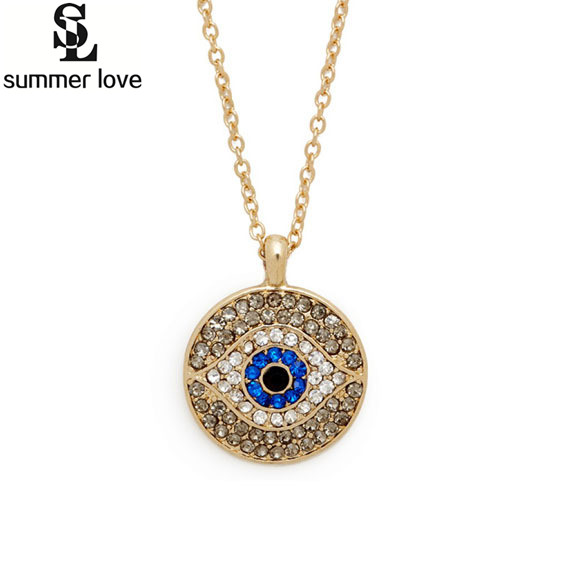 1pc 2016 Turkish Blue Crystal Eye Pendant Hamsa Necklace Israel Womens Delicate Clavicle Chains Islam Jewelry Gold Color