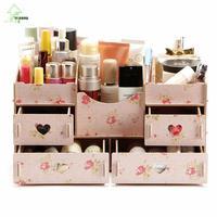YIHONG Fashion DIY Wooden Storage Box Jewelry Container Makeup Organizer Cosmetic Sundries Handmade Assembly Wood Storage Box 0c