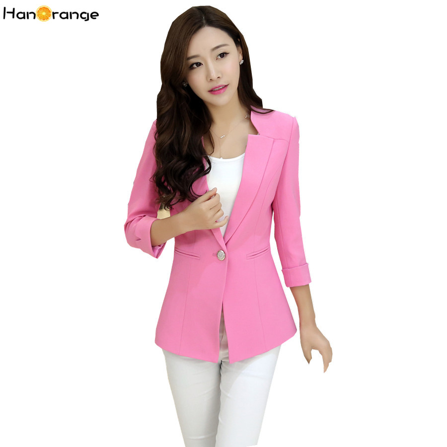 HanOrange 2018 Women Spring Autumn One Button Ladies Slim Small Suit Jacket Women Blazer ...