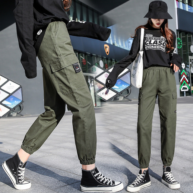 WKOUD 2019 New Joggers Women Solid Loose Ankle-length Cargo Pants Black Sweatpants Female Spring Fall Sports Trousers P8855