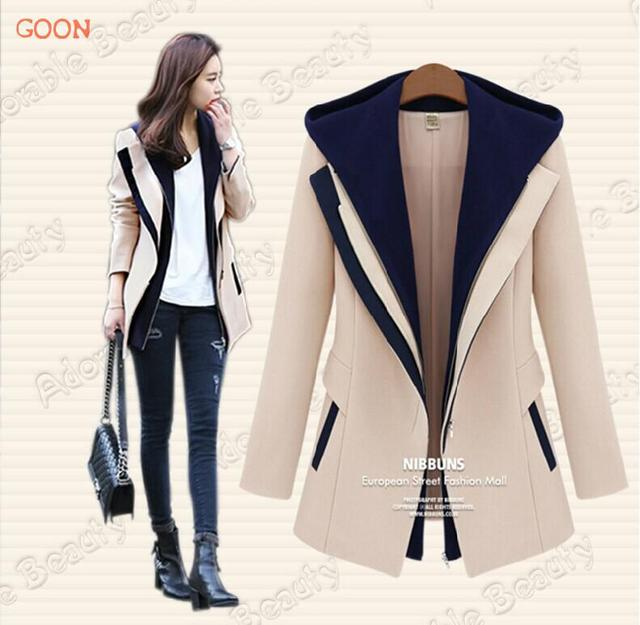 2016 Autumn Winter Casacos Femininos Jackets Women Slim Hooded Outerwear Patchwork Casual Female Coat AWC0041