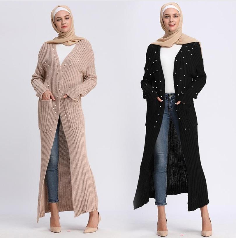 Musulmano adulto tessuto a maglia bordare cuciture musulmano cardigan outwear Musicale Veste di preghiera giacche più il formato dropship