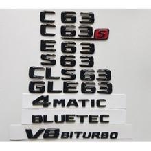 Gloss Black 3D Emblems for Mercedes Benz W204 W205 Coupe C63 W212 W213 E63 W222 S63 CLS63 GLC63 GLE63 AMG 4MATIC V8 BITURBO цена 2017