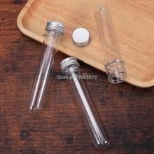 50 قطعة 30 مللي ممتازة البلاستيك شفافة اختبار أنابيب مع الألومنيوم كاب زجاجات 25x140 مللي متر اللوازم المدرسية معدات المعمل