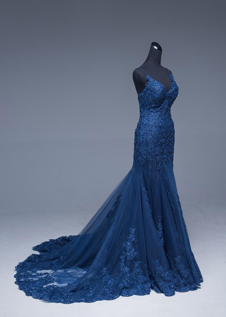Vinca sunny 2019 sexy Navy blue mermaid prom dress Beaded Lace applique  evening dresses long abendkleider 2019 formal dress 3d944619e01e
