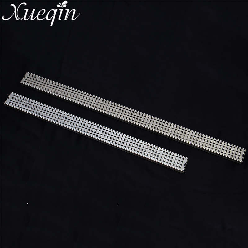 Xueqin 800/1000mm Floor Drain Stainless Steel 304 Linear Shower Grate Floor Drain Vertical Drain Flange Bathroom Floor Drains luxury 304 stainless steel bathroom drains rectangle deodorization type bathroom linear shower floor drain srainer 600mm x 67mm