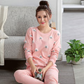 100% Women Sleepwear 2016 Winter Autumn Warm Plus Size Pink Pyjama Suit Nightwear 2 Pieces Pajama Set For Ladies