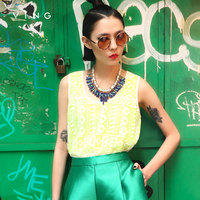 VING Hot Sale Women Embroidery Loose Chiffon Tank Tops Hollow Out Vest Tops Femal