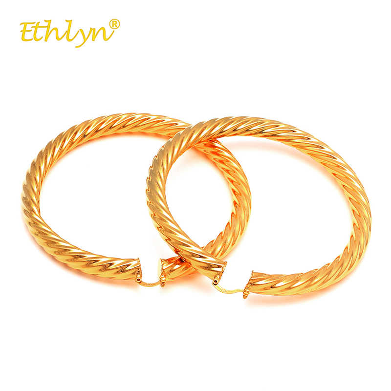 Ethlin 2018 moda mujer pendientes de círculo redondo grande Oro africano/Medio Oriente pendientes de aro redondo joyería presente para chica