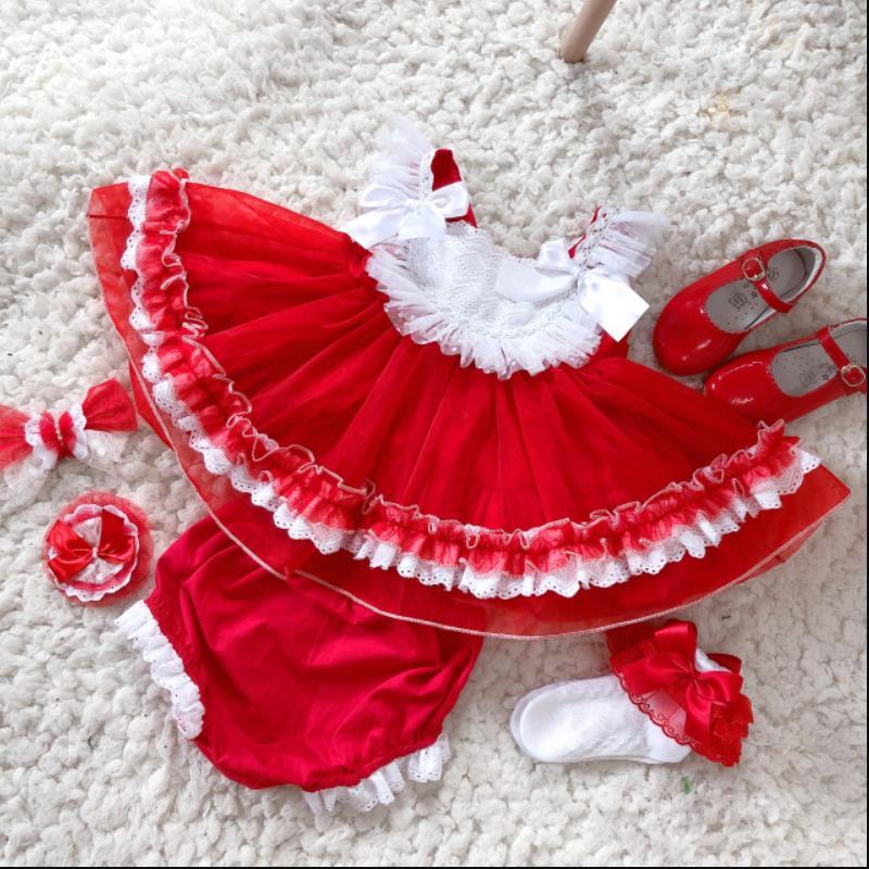 2019 Summer New Spanish Lolita Dress For Girl Birthday Party Sleeveless short Princess Dress Modis Kids