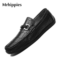 2017 Genuine Leather Driving Moccasins Men Shoes Casual Hollow Breathable Elastic Band Solid Men S Loafers