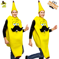 QLQ Unisex Funny Banana Costume Imitation Fun&Cute Banana Cosplay Costuems Performance Carnival Party For Adults
