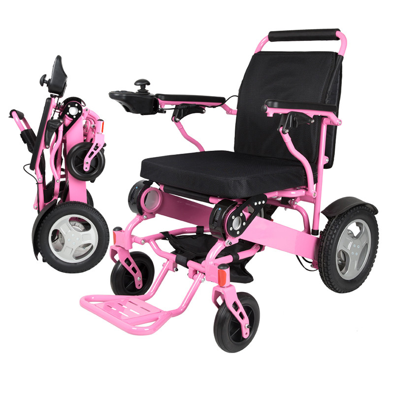 Free shipping 500W dual battery load capacity 180KG portable folding electric power wheelchair for disabled