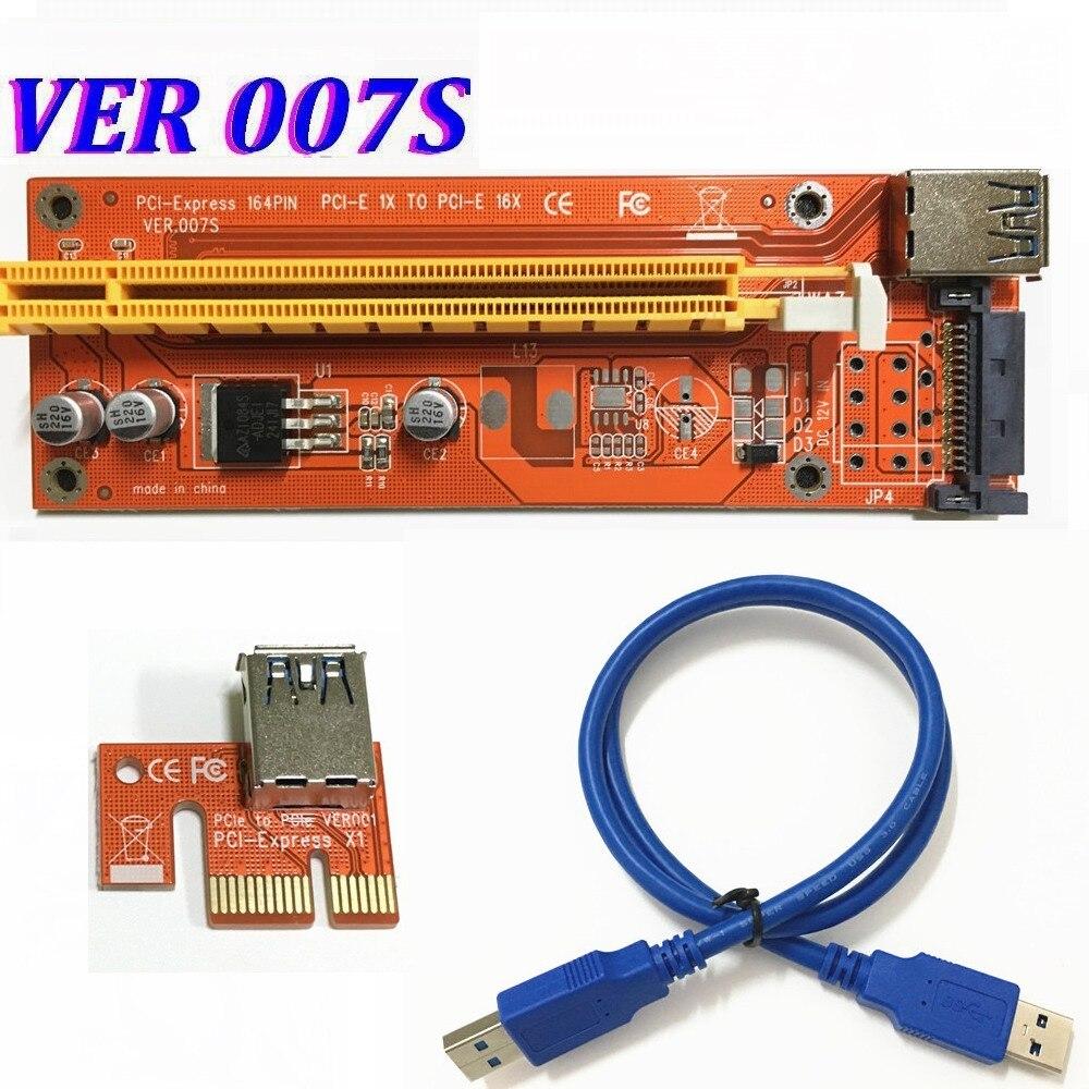 VER 007 s Rood E PCI E Express 1X om 16X videokaart Riser Card SATA Molex Voeding met USB 3.0 Kabel Voor Bitcoin Miner-in Computerkabels & Connectoren van Computer & Kantoor op AliExpress - 11.11_Dubbel 11Vrijgezellendag 1