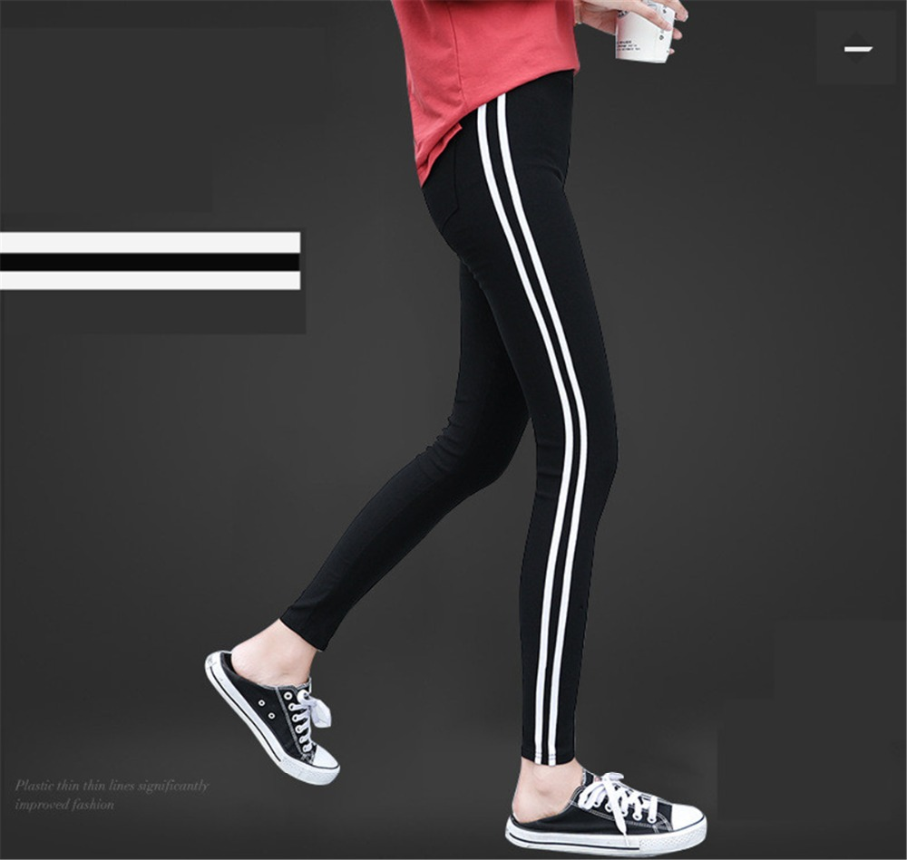 Women Side Stripe Legging Pants Fashion Large Size Workout Polyester Leggings Casual Autumn Black Leggings Women Plus Size XXXL