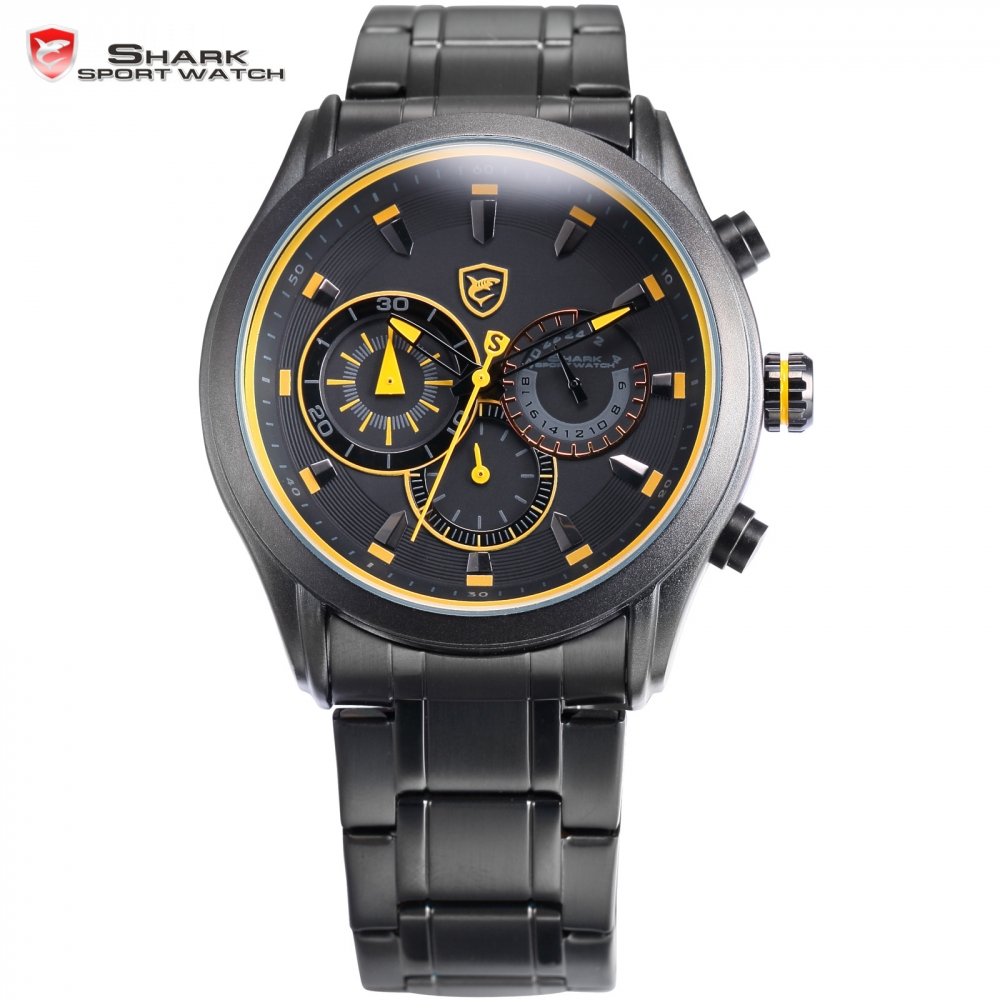 Cow Shark Sport Watch Luxury Black Yellow Dial Stainless Steel Band  Fashion Hours Chronograph Men Military Wristwatch/ SH291  sh brandmens dial sh035