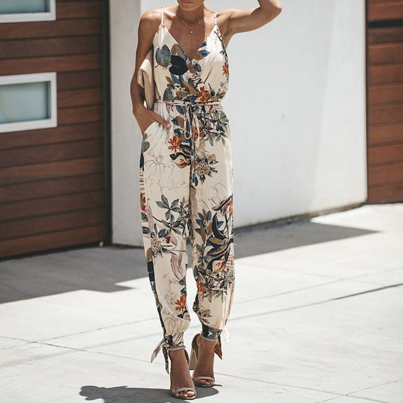 Women Sleeveless Retro Floral   Jumpsuit   Sexy Wrap V-Neck Drawstring High Waist Rompers Side Split Long Pants Playsuit With Pocke
