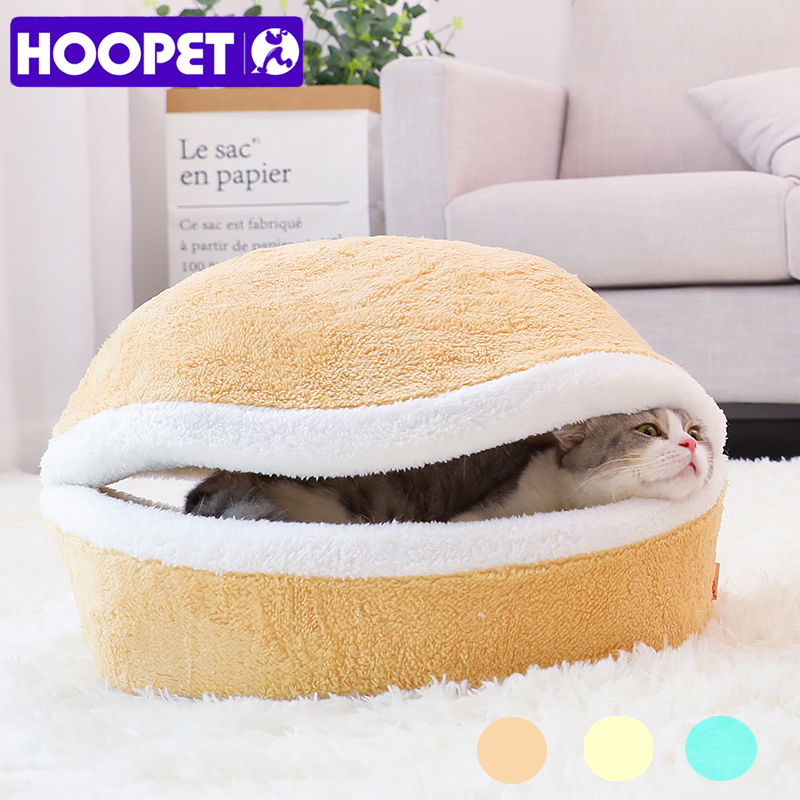 HOOPET Warm Cat Bed House Hamburger Bed izjaukšana Vēja necaurlaidīgs Pet kucēns Nest Shell slēpj Burger Bun ziemai