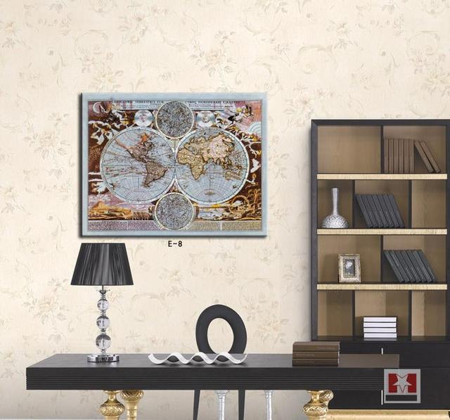 The world map painting for study room decoration abstract wall art ...