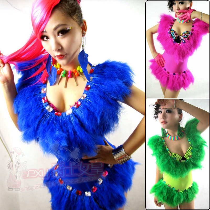 New atmosphere nightclub DJ female singer ds costume feathers jumpsuit Jazz stage set lead dance