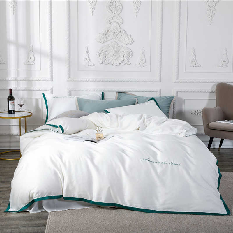 Luxury tencel Bedding Sets Queen/King Size Duvet Cover Set Bedclothes soft Bed Linen Quilt Cover bed cover