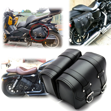 Motorcycle Saddle Bag Black Big Triangle Bag Iron Buckle Side Bag Motorcycle Accessories Tool Leather Harley Sportster XL883