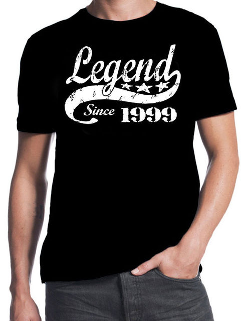 18th Birthday Legend Since 1999 18 Years Old Gift Idea Son Present Black T Shirt Summer