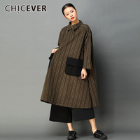 CHICEVER Striped Plus Thick Women Dress Long Sleeve Loose Big Size Pullovers Winter Dresses Female Clothes Fashion Vestidos 2017