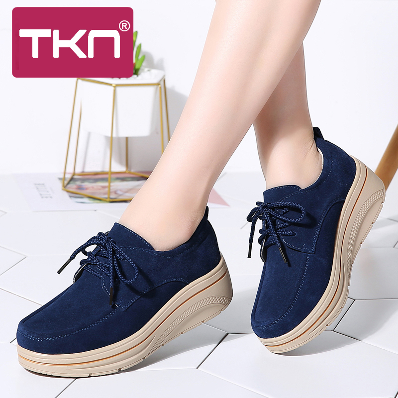 2019 Spring Women Platform Sneakers Shoes   Leather     Suede   Ladies Lace Up Chaussure Femme Creepers Moccasins Flats Shoes Woman 3929