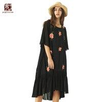Jiqiuguer Women Black Summer Casual Vestidos Three Quarter Mid Calf Floral Pockets O Neck Vintage Embroidery Dresses G182Y054