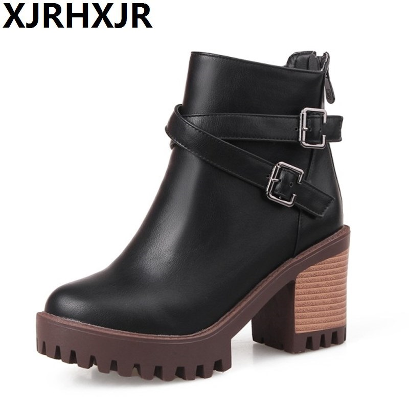 Retro Thick High Heels Shoes Woman Fashion Buckle Ankle Boots Back Zipper Female Casual Platform Martin Boots Round Toe Big Size women ankle boots high heels 2016 fashion shoes woman platform flock zipper winter boots ladies shoes female botas plus size 43