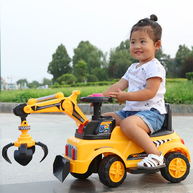 2 In 1 Electric Kids Car Ride On Toys Excavator Music Light Four Wheels Construction Machine