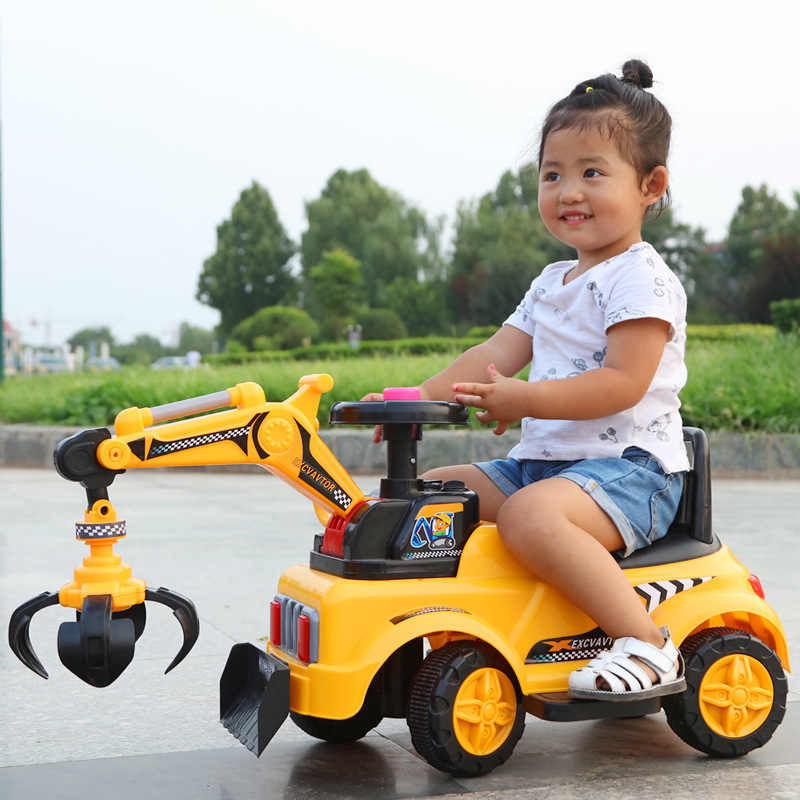 9ac6e93e0 2 In 1 Electric Kids Car Ride on Toys Excavator Music Light Four Wheels  Construction Machine