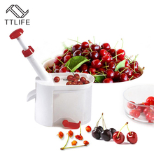 TTLIFE Novelty Easy Cherry Fruit Core Seed Remover Cherry Pitter Picker with Plastic Container Kitchen Tool Accessories