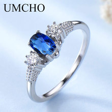 UMCHO Szilárd 925 Sterling Ezüst Ékszer Created Blue Sapphire Gyűrűk Elegáns Eljegyzési Gyűrűk A Nők Esküvői Ajándék Finom Ékszer