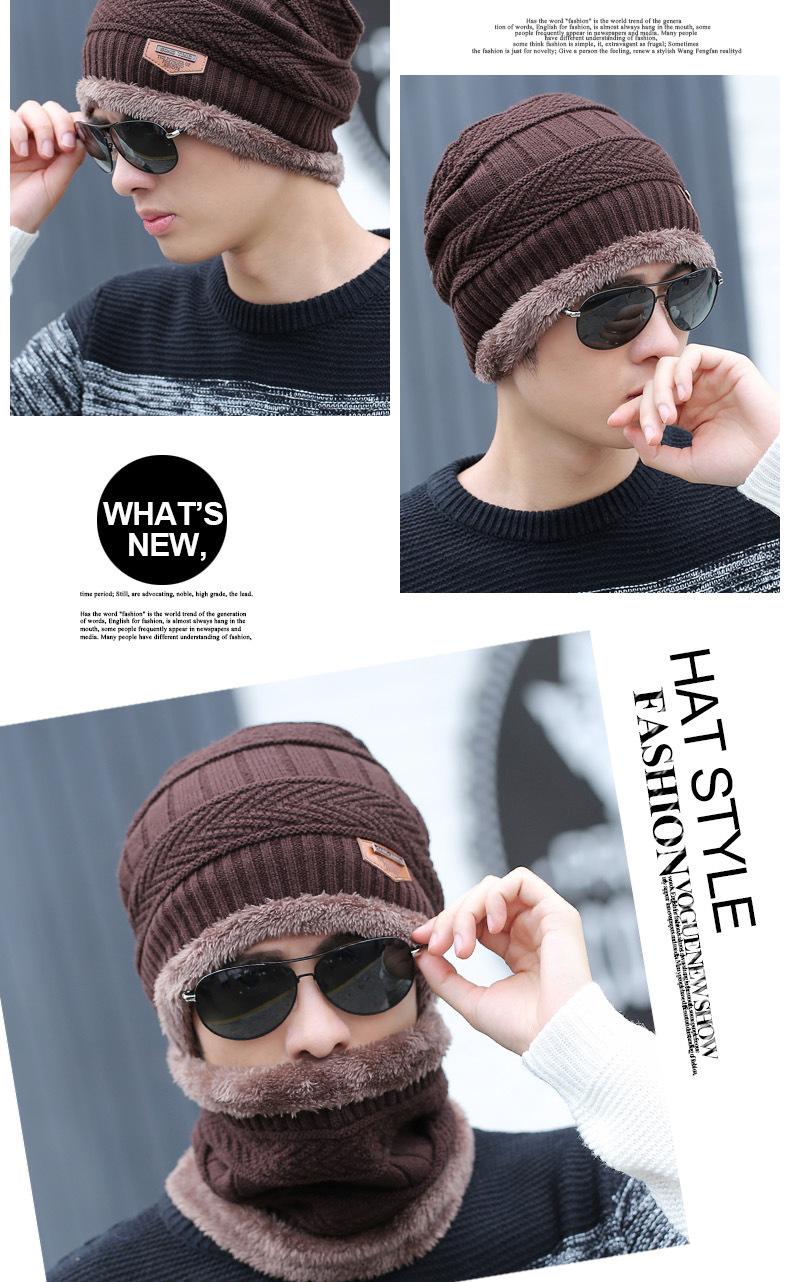 HTB1LI3uSpXXXXXlXXXXq6xXFXXXw - hot selling 2pcs ski cap and scarf cold warm leather winter hat for women men Knitted hat Bonnet Warm Cap Skullies Beanies