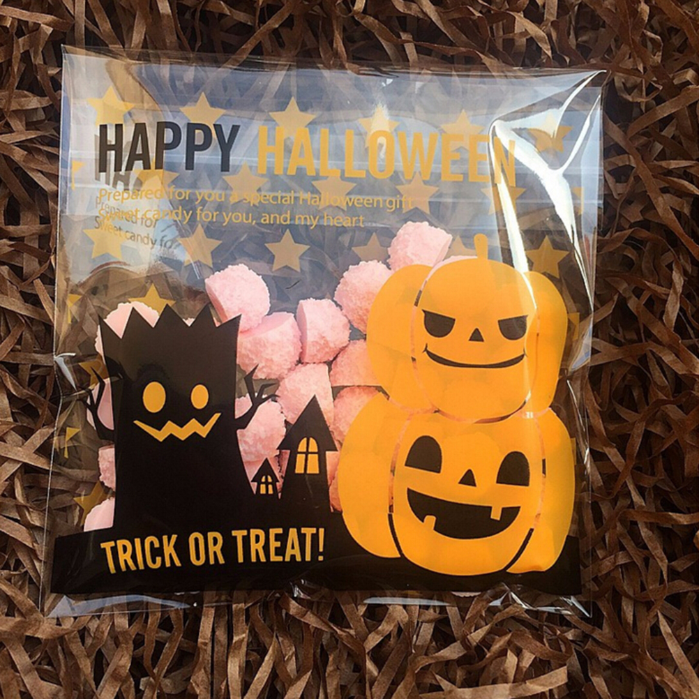Office & School Supplies Hot Sale Peerless 100 Pcs 2 Size Halloween Yellow Pumpkin Print Packing Bags Stationery Holder Soft Plastic Bag Card Note Holders Wide Varieties