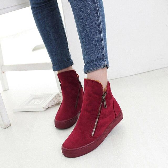 70d6ee7f Moda Mujer Zapatos botas damas botas invierno zapatos botines gamuza  cremallera fácil desgaste Chaussures Femme