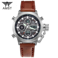 2016 New AMST Watches Men Luxury Brand 3ATM 30m Dive LED Digital Analog Quartz Watches Male
